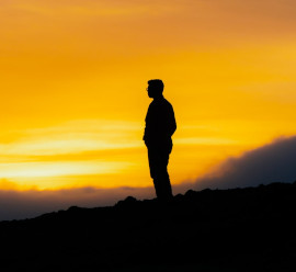 Man standing on a hill